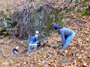 Photo: Stephanie, Bill & Trish working on removing a large branch
