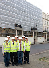 Photo: NRW Delegates with Patalabs outside German Embassy from Left to right: Marie-Theres Luetje, Eberhard Juengst, Franz Noll, Andreas Zawierucha, Mr Koenig, Contractor, Markus Seifermann (Patalab)