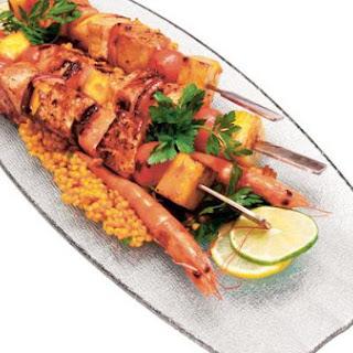 Swordfish Kabobs With Citrus Rum Sauce.