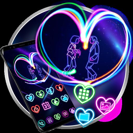 Neon Light Heart 3D Launcher Theme Live Wallpapers