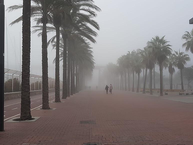 Niebla en Almería: así desaparecía esta tarde el Paseo Marítimo.