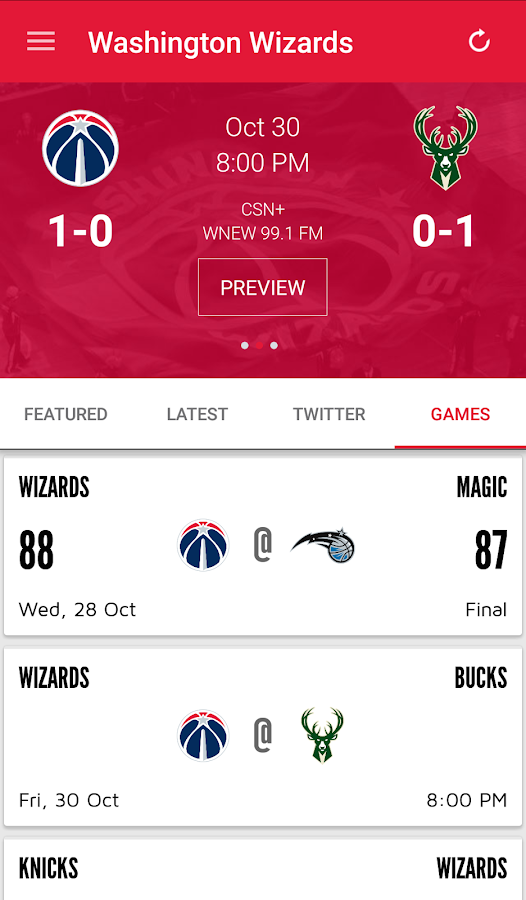 Washington Wizards Mobile- screenshot
