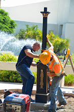Photo: Team Fishel placing the pedestal for the Scottsdale Rotary Clock manufactured by Electric Time Company