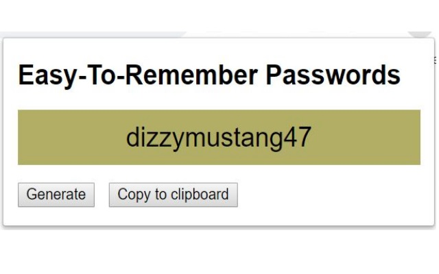 Easy To Remember password generator