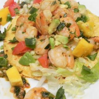 Lime Shrimp Tacos With Mango Salsa.