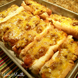 Baked Chili Cheese Dogs.