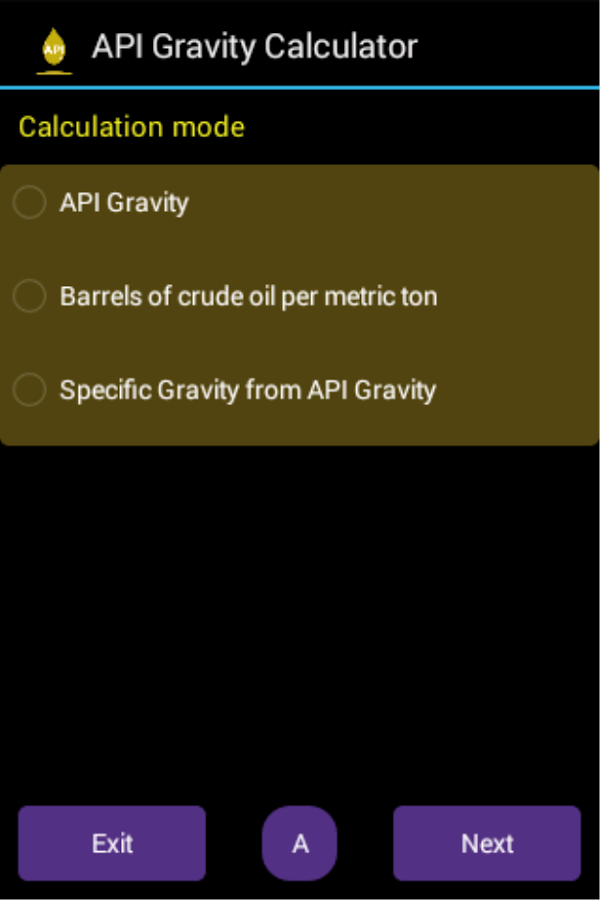 API Gravity Calculator- screenshot