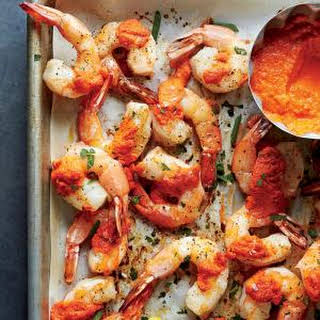 Roasted Gulf Shrimp with Romesco Sauce.