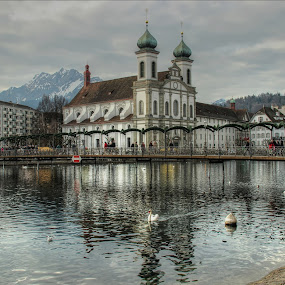 The Jesuit Church, Lake Lucerne by Carol Lauderdale - Buildings & Architecture Places of Worship ( places of worship, lake lucerne, switzerland, the jesuit church, architecture,  )