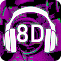 8D music in 360 degrees. Surround music 8D icon