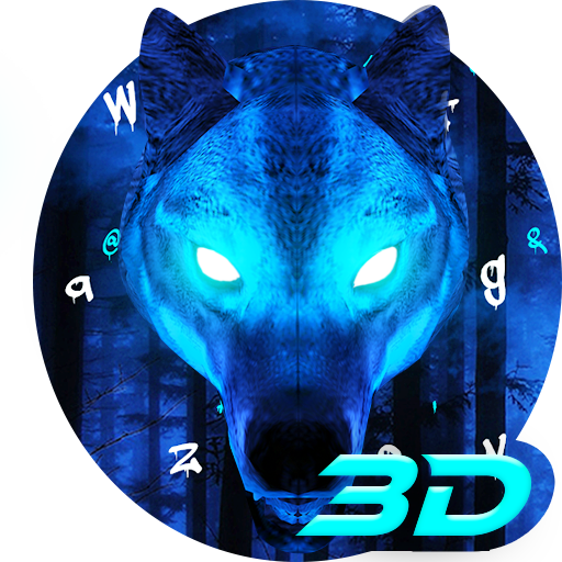 3D Live Ice Wolf Keyboard Theme