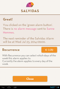 Salvidas Alarm - green button- screenshot thumbnail