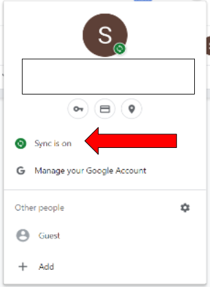 Account pop up. Arrow is pointing at sync is on button.