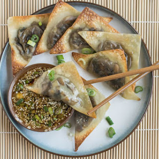 Baked Ginger-Mushroom Wontons with Sesame Dipping Sauce.