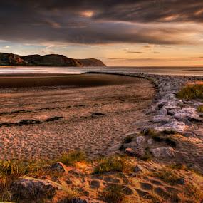 Sunny Beach by Mike Shields - Landscapes Beaches ( clouds, sand, sky, sunset, beach, rocks, sun )