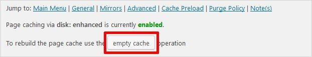 clear cache using W3 Total Cache Plugin wordpress page updates not working