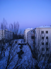 Photo: late full bright moon in dawn of winter 2010, after a heavy snow. 中国北车齐车公司住宅区的晚满月。