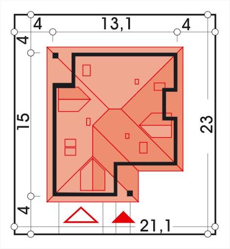 Aksamit wersja A z podwójnym garażem - Sytuacja