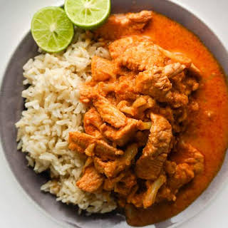 Thai Red Coconut Curry with Chicken.