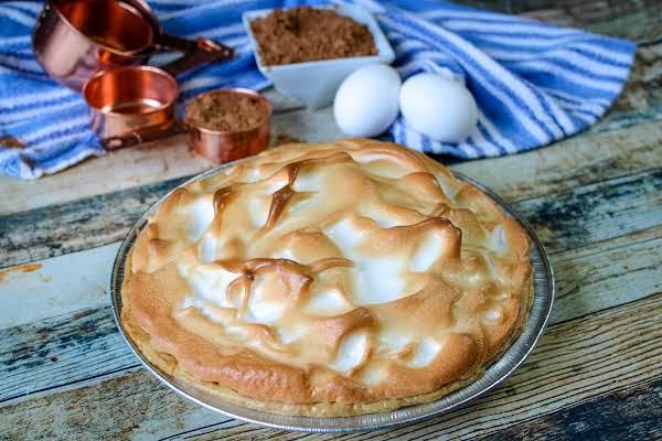 Grandma Jackson's Chocolate Cream Pie Ready To Be Sliced.