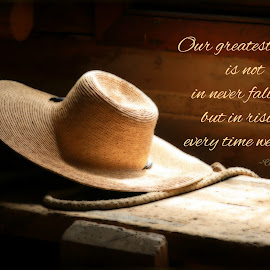 Greatest Glory by Tammy Drombolis - Typography Captioned Photos ( historic, light, affirming, hat, confucious )