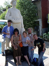 Photo: BOZA is very important to Radomir.  My training group standing in front of the towns Boza statue