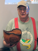 Photo: Bob also turned this eye-catching natural-edge cherry bowl.