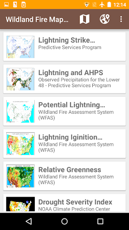Current Wildfires Information Screenshot