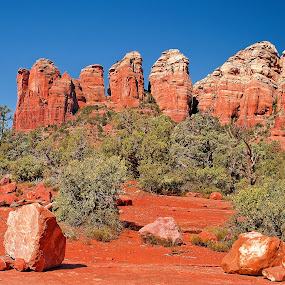 Coffee Pot Rock and Friends by Al Judge - Landscapes Mountains & Hills ( coffee pot rock, soldiers pass, arizona, red rocks, sedona )