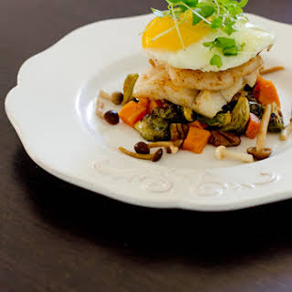 Butter Poached Turbot with Cayenne Mushrooms.