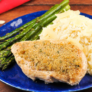 Crispy Italian Chicken and Creamy Parmesan Rice with roasted asparagus