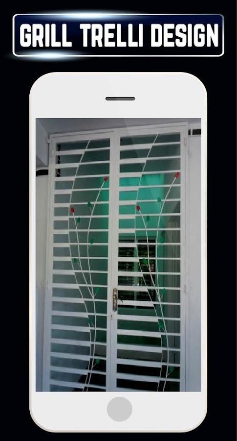 Home grill window trellis design metal door ideas for Door design app