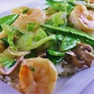 Stir-Fried Shrimp with Snow Peas and Ginger.
