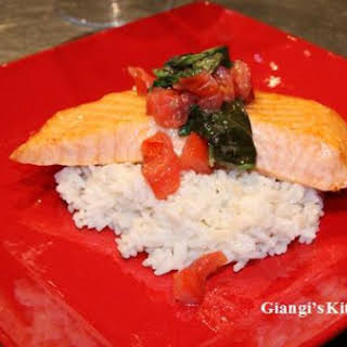 Salmon Fillets in Basil Sauce with Butter Rice.