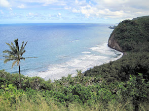 Photo: Picture of the ocean from a viewpoint at the end of a road  east of the town of Kapa'au.  This is where the Pulolu Valley meets the Pacific Ocean.