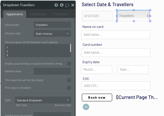 Using dropdown menus to improve the UX of a no-code Tripadvisor app