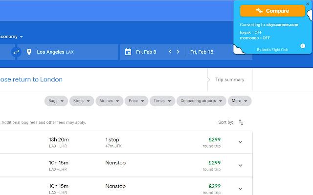 Flight Fare Compare - Google Flights Tool
