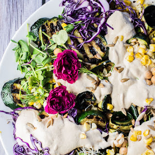 Grilled Zucchini Salad with Corn, Chickpeas, Sprouts and a Creamy Sunflower Dressing.
