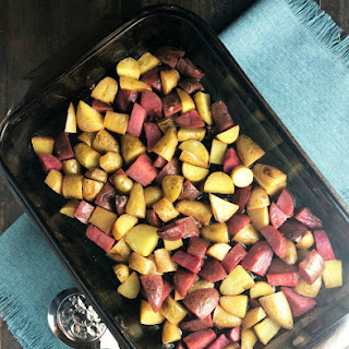 Roasted Lemony Garlic Fingerling Potatoes.