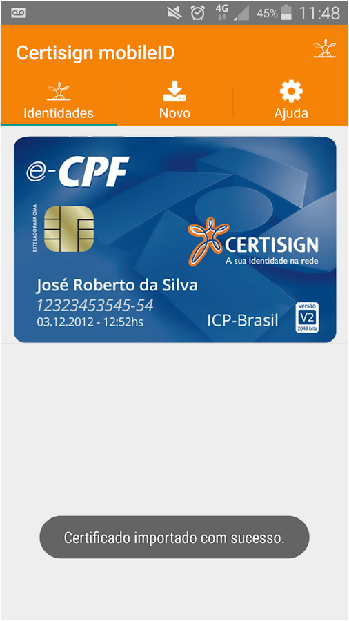 Certisign MobileID: captura de tela
