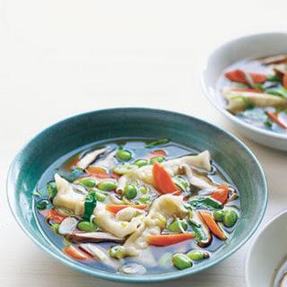 Asian Dumpling Soup With Shiitakes.