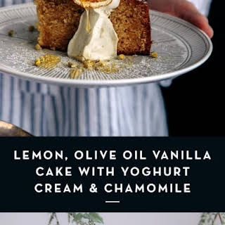Lemon, Olive Oil Vanilla Cake with Yoghurt Cream & Chamomile.