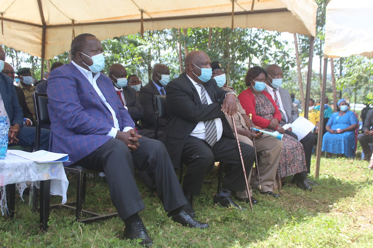Interior CS Fred Matiang'i, Governor John Nyagarama, Woman Representative Jerusha Momanyi and deputy governor Amos Nyaribo in Nyamira last week