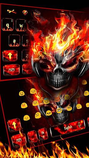 Horror skull Keyboard Theme Fire Skull 10001009 screenshots 3