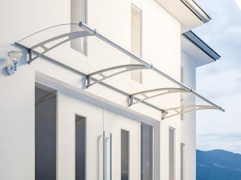 Auvent marquise de porte LT-Line, 270 x 95 cm, verre acrylique transparent ou opaque, fixations inox V2A