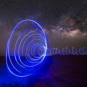 Light paint under Milkyway by Vic Pacursa - Abstract Light Painting ( light painting, stars, long exposure, dessert, milky way )