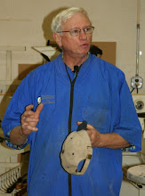 Photo: There's something rewarding, deep inside, a joy that comes from converting a hunk of wood into a shapely bowl – particularly a natural-edge bowl that carries with it the legacy of the tree. MCW was privileged to watch an expert, Ron Brown, perform this ceremony, if you will, at our January meeting. Ron Brown's goal was to show us how to make a natural-edge bowl in the 'Ellsworth Style'.