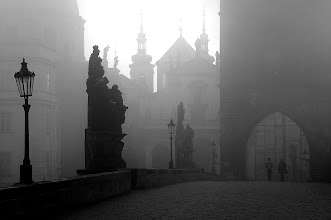 Photo: This is another one from the beautiful Charles Bridge in Prague. I did a little project on the Charles Bridge five or six years ago. I lived in Prague back then and used to go to the Charles Bridge almost every Sunday morning to shoot the early birds on their way to work (and often also clubers on their way home...). I got some good shots and it was great fun. This one and two more I posted before are all from the very first morning when I started the project. The light on that day was beautiful with just enough but not too much of fog. I came back many many times after that but the light was never quite the same. Not even close actually...