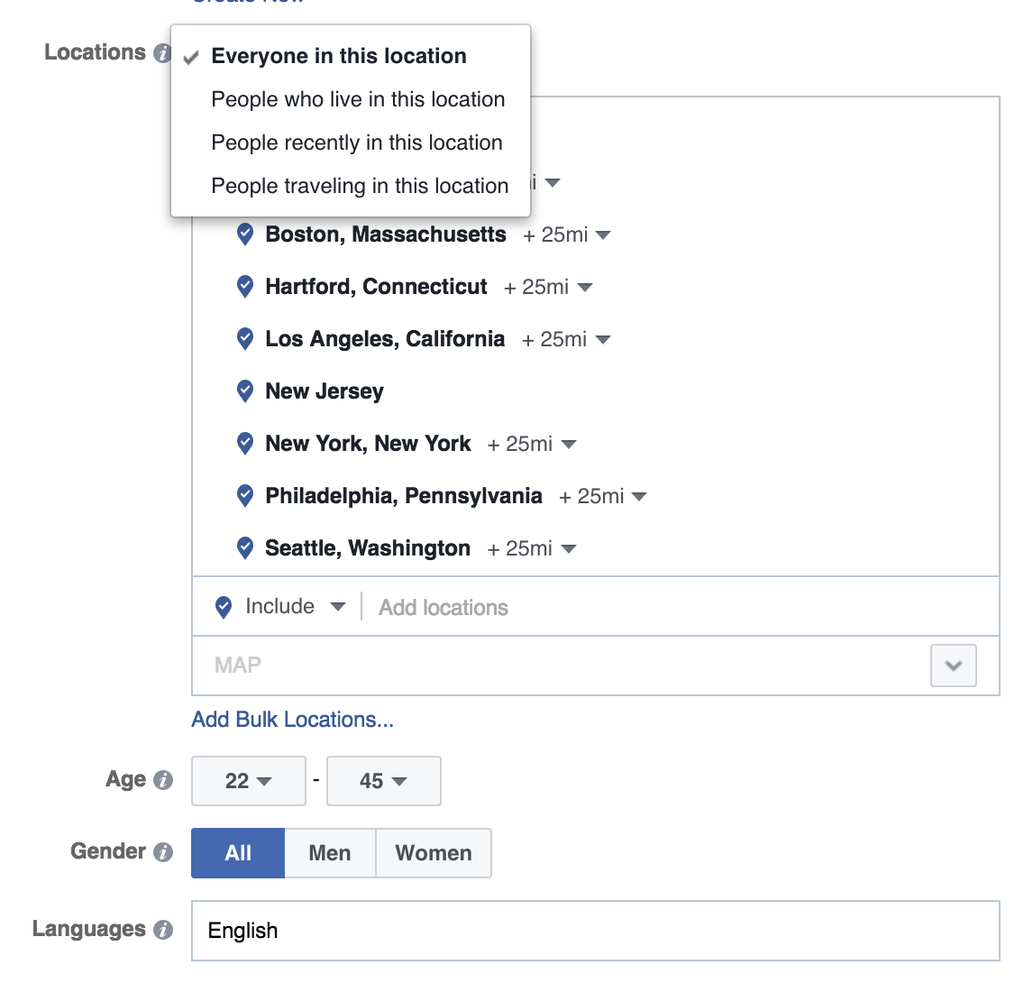 Choose your Location Targeting - Facebook Campaign