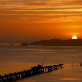 California sunrise by Robin Rawlings Wechsler - Landscapes Sunsets & Sunrises ( water, san francisco bay, pier, seascape, sunrise, landscape, sun )